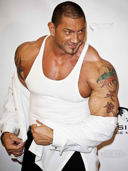 Filipino-American wrestler-bodybuilder-actor Dave Michael Bautista, Jr or BATISTA-The Animal, sporting a Philippine emblem tattoo Photo by: Ernie Pena