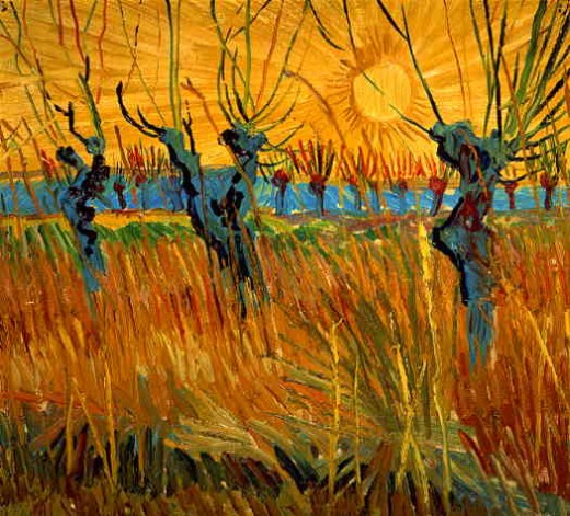 An intense view of the world. Pollard Willows with Setting Sun, Vincent van Gogh, 1888