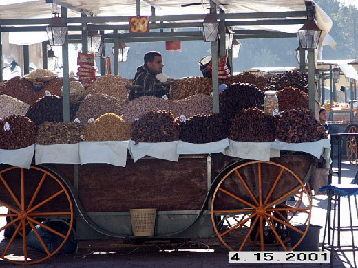 Dry Fruit Stall (dates, figs, prunes, raisins, you name it) at Djemaa el-Fna, Marrakesh, Morocco.