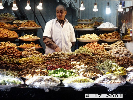 Sweets Vendor, Marrakesh Market or Souq, Morocco.