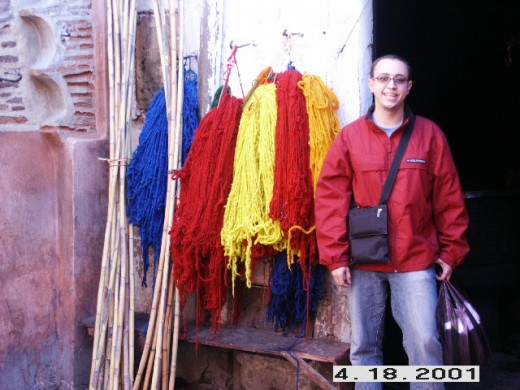 Camel Wool Dyed in Different Colors, Souq of Marrakesh (crafts market), Morocco.