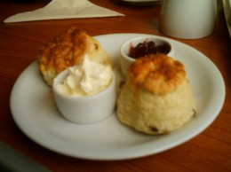 Scone, clotted cream and strawberry jam.