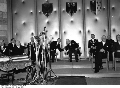 Sir Winston Churchill at the Aachen City Hall, 1956