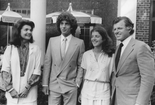 John Kennedy, Jr. Jackie, Caroline and Ted Kennedy at Phillips Andover Academy Graduaton