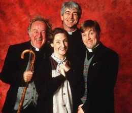"Fr. Jack, Mrs. Doyle, Fr. Ted, and Fr. Dougal of ""Father Ted"""