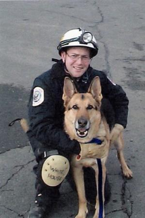 Jake    Feb 1995 - Dec  2006   Background: Disaster search dog deployed on two train derailments, Rockville, MD parking lot collapse, Pentagon terrorist attack, (2001), LaPlata, MD F-4 tornado (2002)