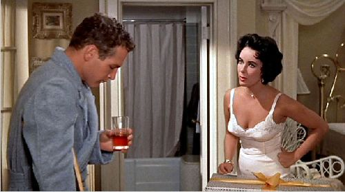 "Paul Newman and Elizabeth Taylor in ""Cat on a Hot Tin Roof."""