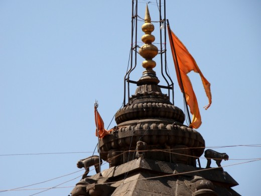 The top of the pinnacle of Parli Vaijnath temple