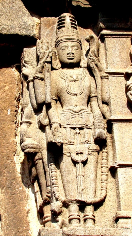 Stone sculpture on the outside wall of Aundha Nagnath temple (Lord Vishnu)