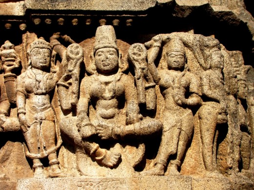 Stone sculpture on the outside wall of Aundha Nagnath temple (Lord Shiva & His Divine Consort Parvati)