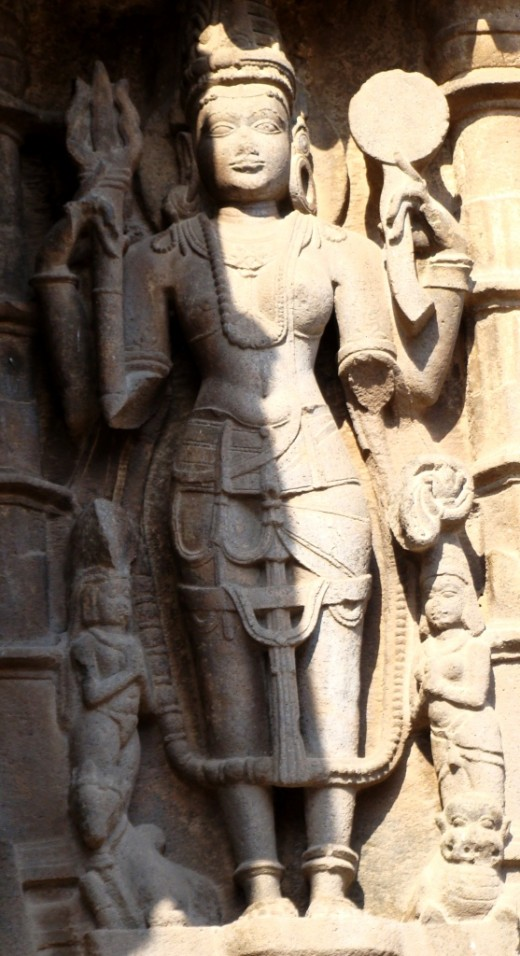 Stone sculpture on the outside wall of Aundha Nagnath temple (Ardhanaariswara -- Male & female power in the same body)