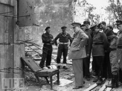 Winston Churchill inspecting the ruins of the Reichchancellery in 1945