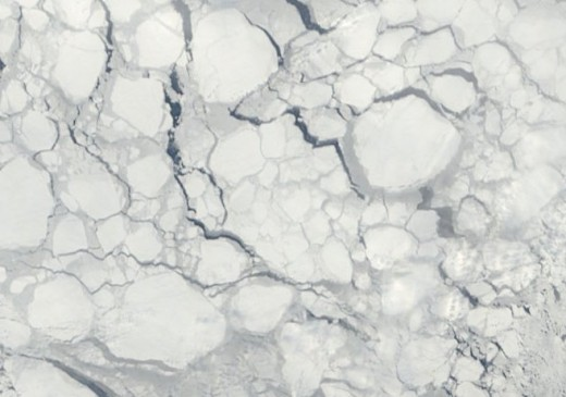 Sea Ice near Greenland, March 22, 2011.  Image courtesy NASA, Patrick Lockerby.