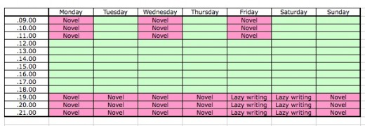 This is my writing timetable.  You might think that it's a bit pointless to make one at all, when I could just remember that I'm supposed to write every evening.  However, I am a little anal about these things.  You don't actually have to make one.