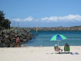 Safe beach for children with a shark net