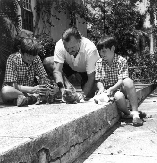 Hemingway in Cuba with his sons.