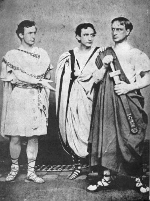 John Wilkes Booth, Edwin Booth, and Junius Brutus Booth, Jr., in Julius Caesar, 1864