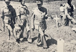 """Smuts examining graves of South African servicemen at Castiglione, Italy, 1945. Image Lean """"One Man in His Time""""."""