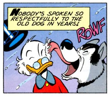 "Scrooge and Barko from ""North of of the Yukon"". Barks sometimes made references to himself in the comics."