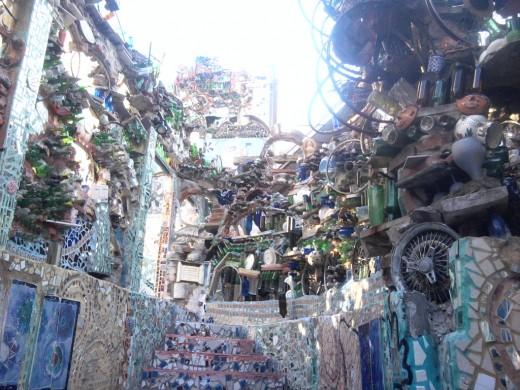 Work of Isaiah Zagar. Magic Garden's on South Street in Philadelphia, PA.  Outside stairway