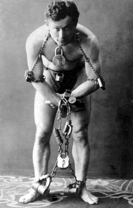 Escape artist Harry Houdini in 1899