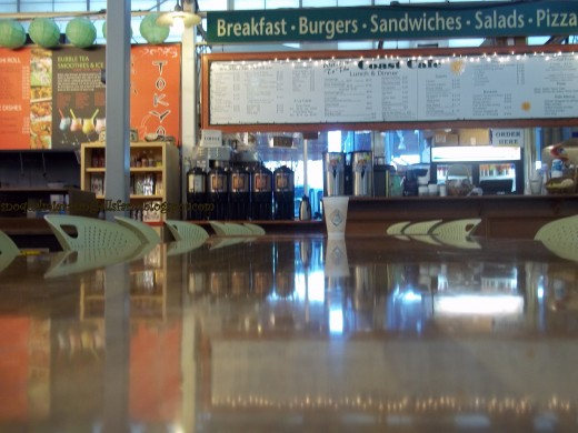 Living frugally often limits choices for meals. A bagel / cream cheese / coffee were under $3. Many people do not realize the river market has an International Food Court