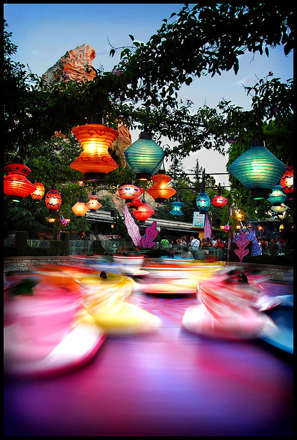 The lamps overhead lend light at night while adding atmosphere at the same time.