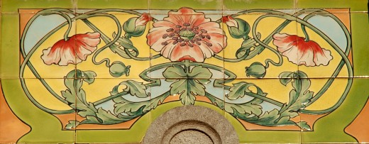 Ceramic detail at Genval railroad station