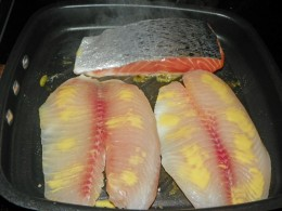 Step 4 - Place seafood on Nordic Grill