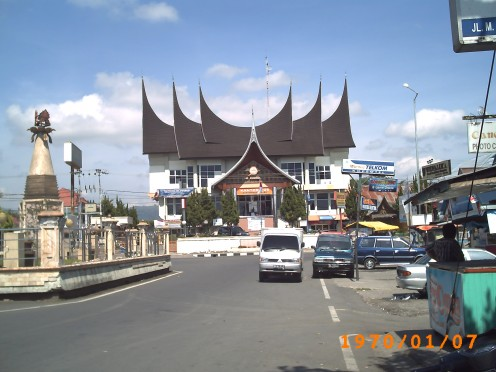 The Post office of Bukittinggi town, its architecture is in form of Rumah Gadang.