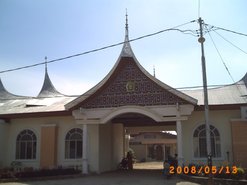 The entrance of MAN 1 Payakumbuh - an Islamic Senior High School in Payakumbuh town in which some of the buildings also use the Rumah Gadang style.