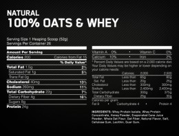 Optimum Nutrition Oats and Whey nutritional panel
