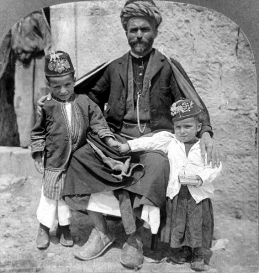 Palestinians in traditional garb- early 1900's