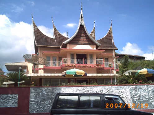 A public building near Sianok Canyon in Bukittinggi which also in Rumah Gadang roof style.