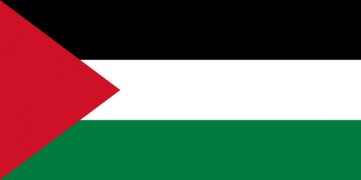 The Palestinian flag.  Since 1964 this flag has represented the Palestinian people and their struggle, a struggle which was largely created by Britain.  (Now, now, let's not go hating the English now).