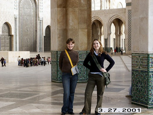 My sister and I inside Hassan II Mosque, Casablanca, Morocco.