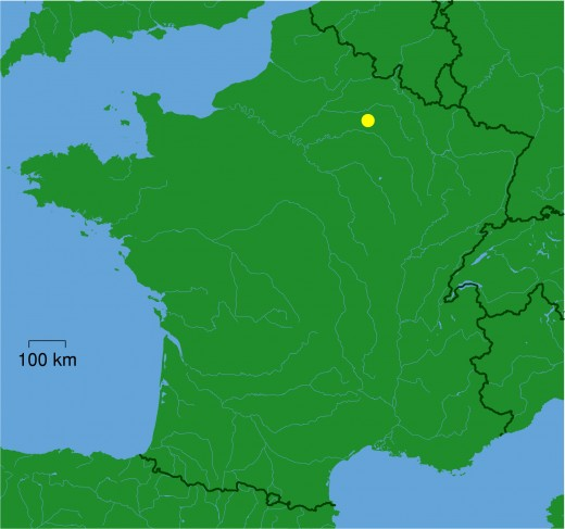 Map location of Reims, France