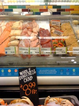 A seafood selection at Whole Foods.