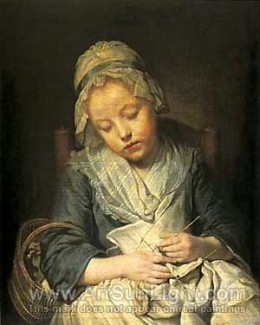 """Young Knitter Asleep"" by Jean Baptiste Greuze (1725-1805) completed in 1755"