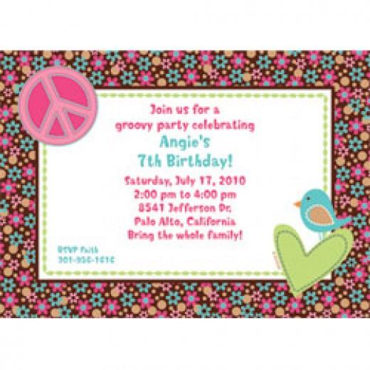 Hippie Chick Personalized Invitations