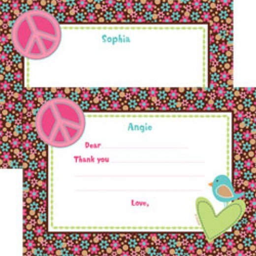 Hippie Chick Personalized Thank You Cards