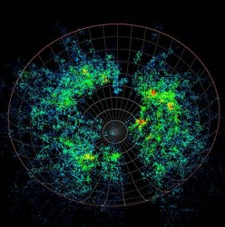Visualisation of galaxy positions in the 6dF survey. [Anglo-Australian Observatory] Image from http://paulbourke.net/papers/wheels2004/