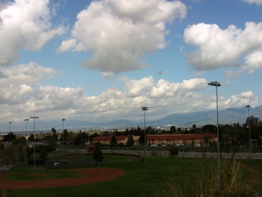Another capture of the baseball field and a palm tree.  You can also see the Cajon Pass in the distance, although the clouds somewhat obscure this view.