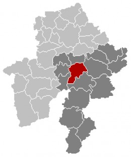 Map location of Dinant in Namur province