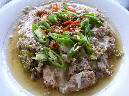 BICOL EXPRESS - the famous dish or spicy pork with coconut milk and lots of green chillies and shrimp paste (bagoong)