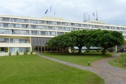 The rear of the Sheraton Hotel located in Iguazu Falls National Park showing that most have balconies facing the falls.