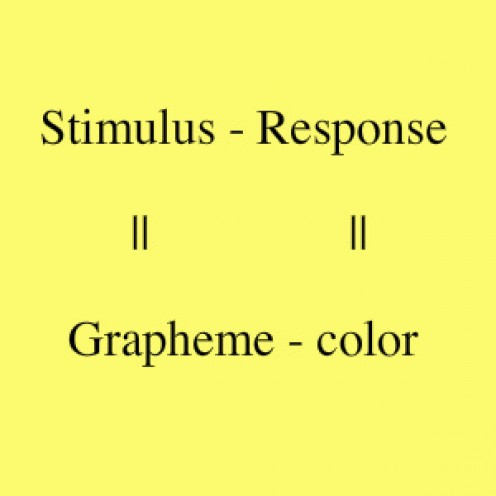 A chart showing the stimulus and the response in syn-type names.