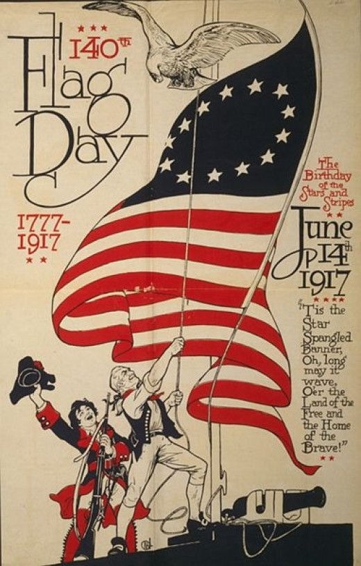 140th US Flag Day poster. 1777-1917