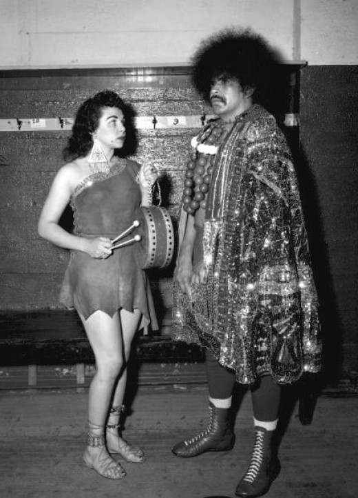Slave Girl Moolah with Elephant Boy Tony Olivas