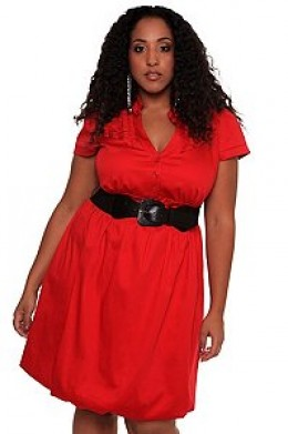 Red Shirt Bubble Dress with Belt